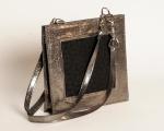 cabas moyen de cuir de veau fini métallique argent et jacquard de coton noir