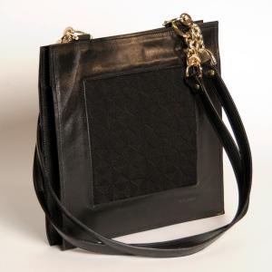 cabas de cuir de veau noir et jacquard de coton noir motif toile logo zyx