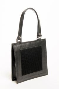 petit cabas de cuir noir et jacquard de coton noir